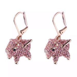 Kate Spade Earrings Rose Gold Crystal Pig New